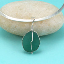 Aqua Sea Glass Necklace. Antique Sea Glass Insulator. Genuine and Rare. Nova Scotia. One of a Kind. Ready for Fast, Free Shipping.