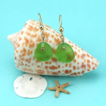 Sea Glass Earrings, Lime Green w/Gold. Genuine Sea Glass. One of a Kind. Ready for Fast, Free Shipping.