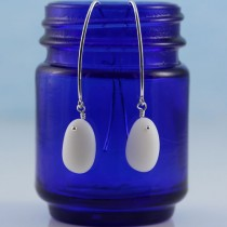 Sea Glass Earrings, Milk Glass, Long Sterling Silver Ear Wires from A Day at the Beach Fine Sea Glass Jewelry
