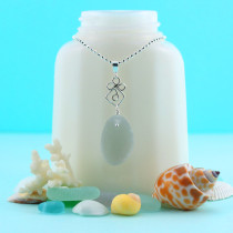 Sea Glass Necklace Shades of Gray