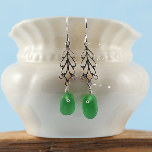 Sea Glass Earrings Emerald Green With Sterling Silver