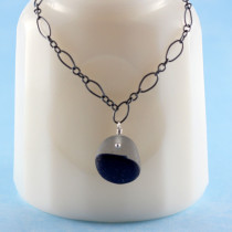 """Blue and White Sea Glass Necklace. Sea Glass is a rare """"Multi"""" from the UK and comes with a rhodium over sterling silver necklace"""