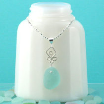 Aqua Sea Glass Necklace. Genuine Sea Glass. Sterling Silver. Ready for Fast, free Shipping.