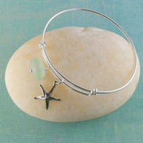 Sea Glass Bangle Bracelet, Sterling Silver, Expandable with your choice of beachy charm!