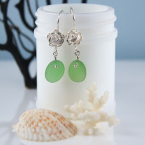 Emerald Green Sea Glass Earrings Sterling Silver