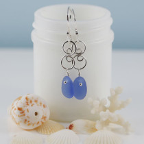 Cornflower Blue Sea Glass Earrings with Sterling Silver Accents and Ear Wires. This is the actual pair that you will receive and they are ready for immediate shipping!