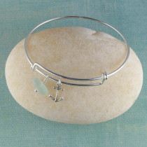 Sea Glass Bangle Bracelet, Sterling Silver, Expandable, with your choice of beachy charm.