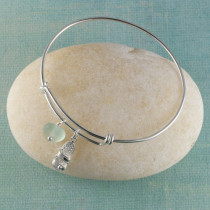 Sea Glass Bangle Bracelet , Sterling Silver, Expandable, with you Choice of Beachy Charm