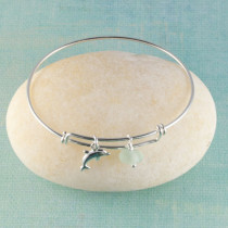 Sea Glass Bangle Bracelet, Sterling Silver, Expandable with your choice of Sterling Silver Beachy Charm!