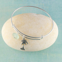 Sea Glass Bangle Bracelet, Expandable, Sterling Silver with your choice of beachy charm.