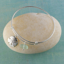Sea Glass Bangle Bracelet, Sterling Silver, Expandable, with your choice of sterling silver beachy charm.