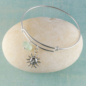 Sea Glass Bangle Bracelet, Expandable, Sterling Silver with your choice of beachy charm