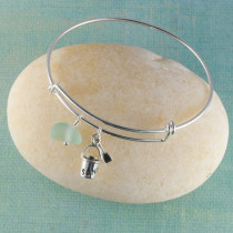 Sea Glass Bangle Bracelet, Sterling Silver, Expandable with your Choice of Beachy Charm