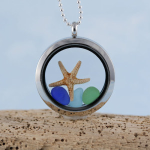 Sea Glass Pendant Floating Locket with Starfish, Genuine Sea Glass and Your Choice of Sterling Silver Necklace Length