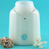 Aqua Sea Glass Necklace with Sterling Silver. Genuine Sea Glass. Ready for Fast, Free Shipping.