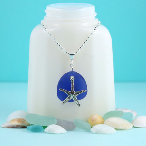 Cobalt Blue Sea Glass Pendant with Sterling Silver Starfish Charm & Necklace