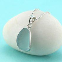 Aqua Sea Glass Pendant Bezel Set