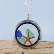 Sea Glass Pendant, Floating Locket, Silver