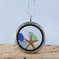 Sea Glass Pendant, Floating Locket, Silver