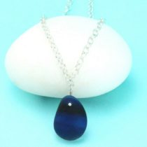 Shades of Blue Cobalt Sea Glass Multi Necklace. Sterling Silver. Genuine Sea Glass. Ready for Fast, Free Shipping