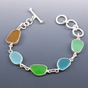 Sea Glass Bracelet Bezel Set. Multi Colored. One of a Kind. Ready for Fast, Free Shipping.