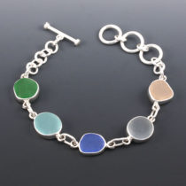 Sea Glass Bracelet Bezel Set. Multiple Colors. Ready for Fast, Free Shipping.