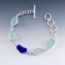 Sea Glass Bracelet Bezel Set Sterling Silver