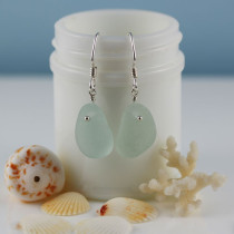 Sea Glass Earrings from A Day at the Beach Fine Sea Glass Jewelry. This is the actual earring pair that you will receive. Ready for immediate shipping.