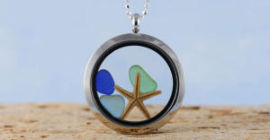 The Starfish Seaglass Jewelry Locket Necklace by A Day at the Beach - buy now