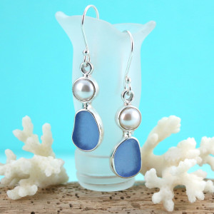 Cornflower Blue Sea Glass Earrings with Pearls Bezel Set in Sterling Silver. This is the actual pair that you will receive. Fast, free shipping.
