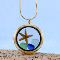 Sea Glass Pendant, Floating Locket Gold with Matching Necklace, Thee Small Sea Glass Gems and Starfish