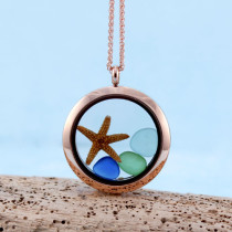 Sea Glass Pendant, Floating Locket, Rose Gold with Matching Necklace