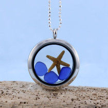 Sea Glass Pendant, Floating Locket, with Sterling Silver Necklace. Includes 3 Small Sea Glass Gems and a Starfish.