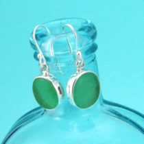 Luscious Lime Green Sea Glass Earrings. Bezel Set. Sterling Silver. Ready for Fast, Free Shipping.