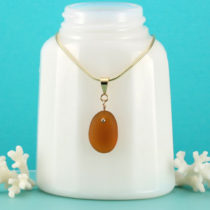 Amber Sea Glass Necklace with Gold. Genuine Sea Glass. Ready for Fast, Free Shipping.