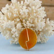Rare Orange Sea Glass Necklace with Gold Necklace in your choice of necklace lengths.