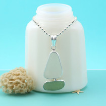 Sea Glass Necklace Bezel Set Sailboat. Sterling Silver. Genuine Sea Glass. Ready for Fast, Free Shipping.