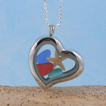 Sea Glass Pendant, Floating Locket with Red Sea Glass!