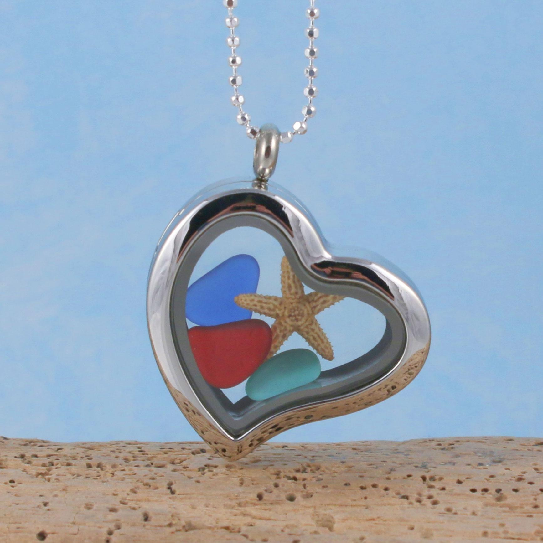 Silver Heart Sea Glass Pendant Floating Locket Free Shipping