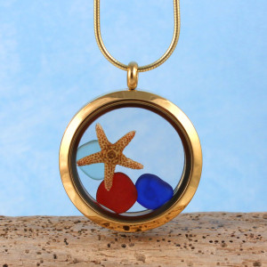 Sea Glass Pendant, Floating Locket Gold with Red Sea Glass