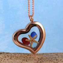 Sea Glass Pendant, Floating Locket, Rose Gold with Red Sea Glass