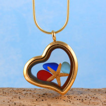 Sea Glass Pendant, Floating Locket, Gold Toned with Red Sea Glass