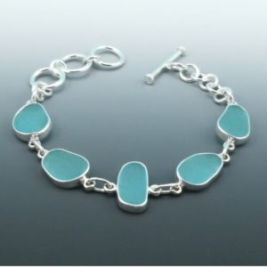 Aqua Sea Glass Bracelet. Bezel Set. Sterling Silver. Genuine Sea Glass. Ready For Fast, Free Shipping.