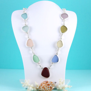 Multi Colored Sea Glass Necklace Bezel Set in Sterling Silver. One Red Sea Glass Gem! One of a Kind. Ready for Fast Shipping.