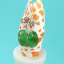 Lively Lime Green Sea Glass Earrings. Genuine Sea Glass. Sterling Silver. Ready for Fast, free Shipping.