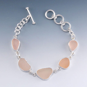 Pink Sea Glass Bracelet Bezel Set in Sterling Silver. Only One Available.