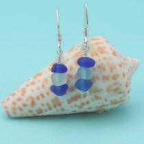 Cobalt Blue/Aqua Sea Glass Stack Earrings
