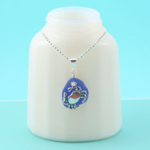 Cobalt Blue Sea Glass Necklace with Crab. Sterling Silver. Genuine Sea Glass. Ready for fast, free shipping.