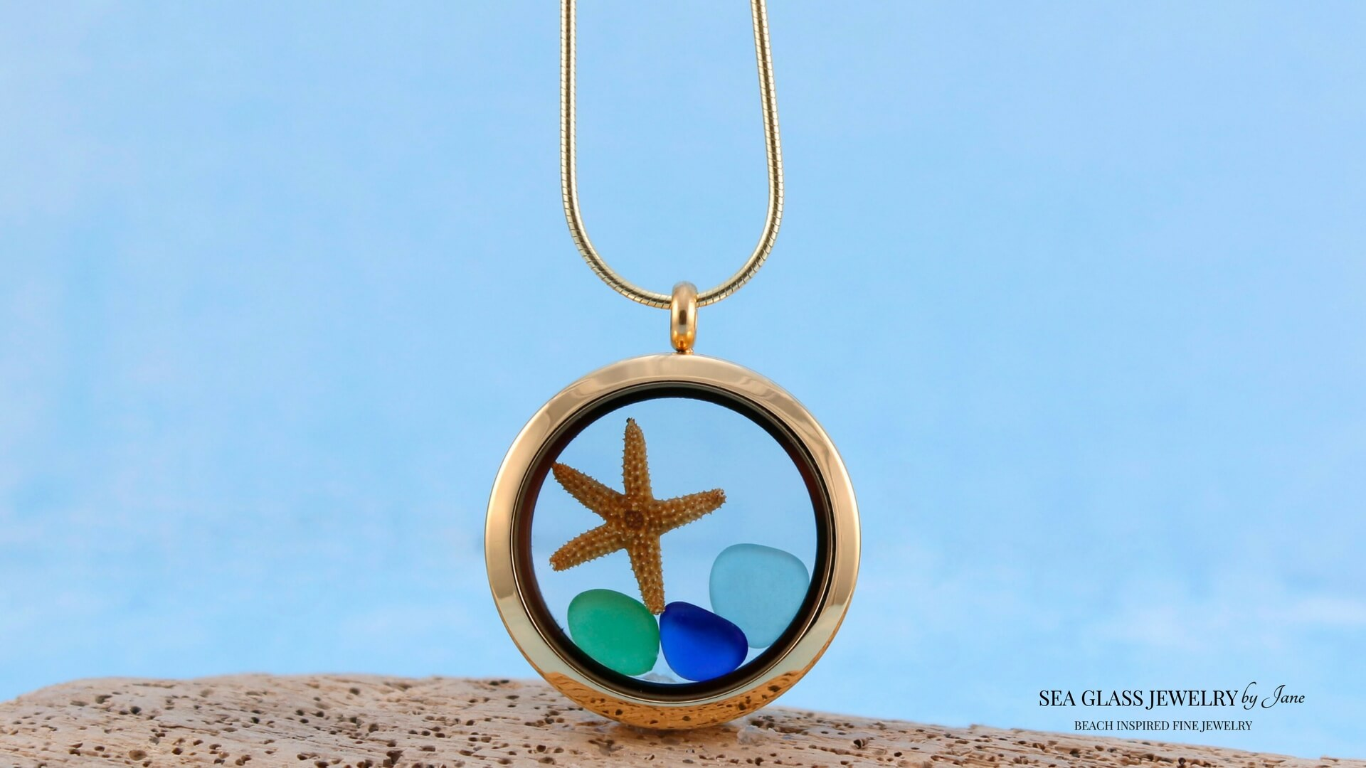Sea Glass Necklace Floating Locket Gold Beach Inspired Design for