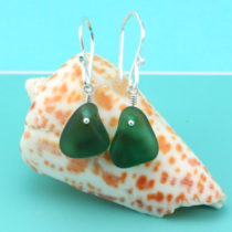 Teal Sea Glass Earrings. Sterling Silver. Genuine Sea Glass. One of a Kind. Ready for Fast, Free Shipping.